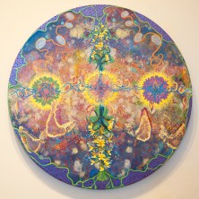 """""""Symbiosis (Finding My Way)"""" by Gordon Wood, Acrylic Collage on Panel, 20"""" x 20"""". Collage of microbiological-looking designs and floral images."""