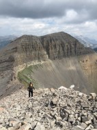 Hiking down the scree toward Cody peak