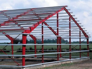 metal building with c and z steel purlins