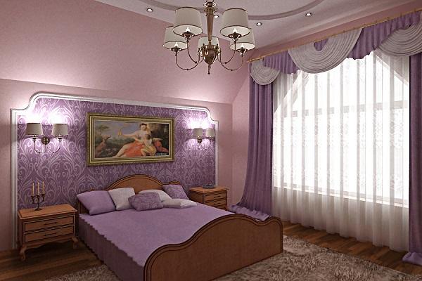 Поклейка обоев двух цветов в спальне: правила сочетания ...