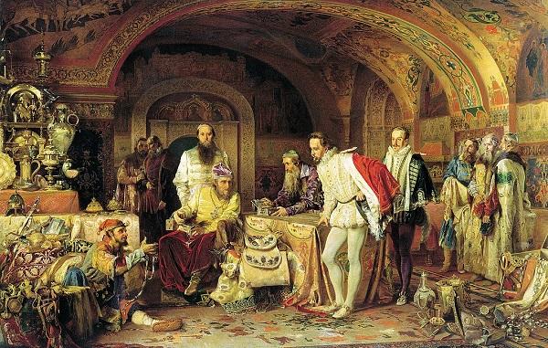 Иван Грозный показывает сокровища английскому послу Джерому Горсею.
