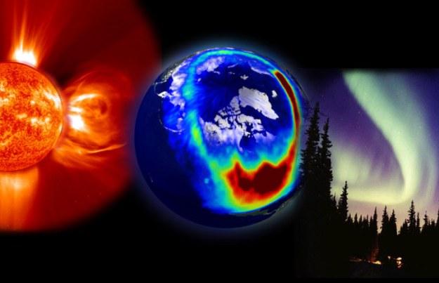 солнце, земля, северное сияние