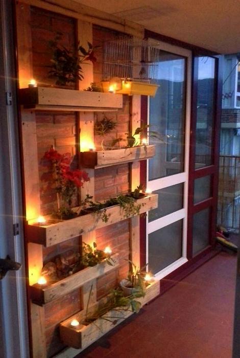 Вертикальный сад с подсветкой.   Фото: Pinterest.