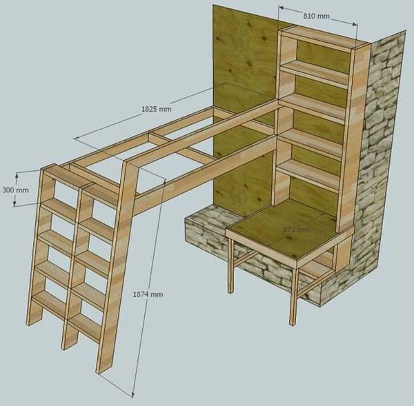 Проект кровати чердака с размерами