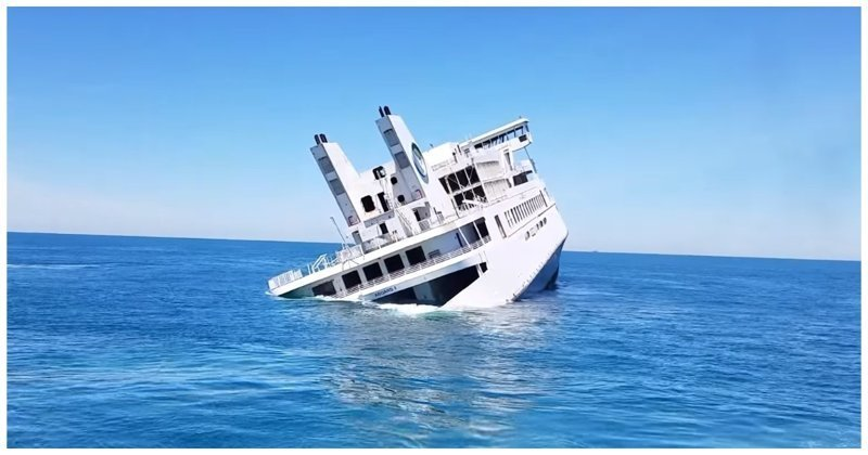 Затопление старого круизного парома в Атлантическом океане в мире, видео, затопление, интересное, паром, судно, сша