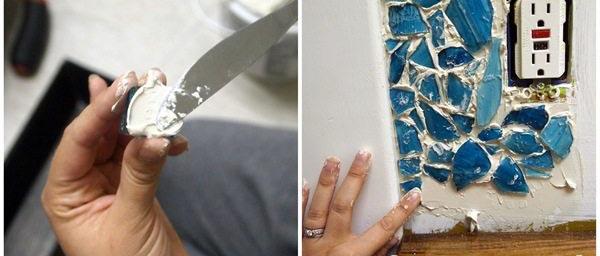 Необычная идея: фартук для кухни или ванной из битого стекла. Смотрится очень оригинально
