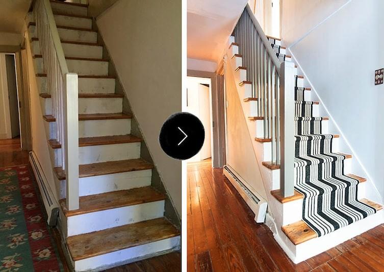 Преображение лестницы с помощью краски (и ковровой дорожки) бюджетно, дом, идеи, креатив, ремонт, своими руками, советы, фото