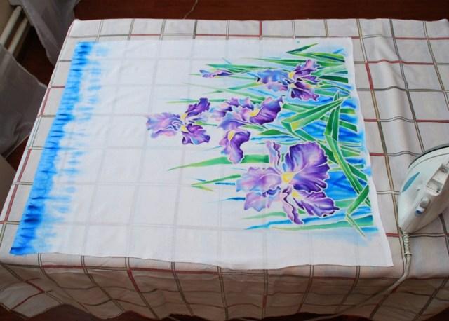 Роспись юбки для платья из хлопка в технике холодного батика 8