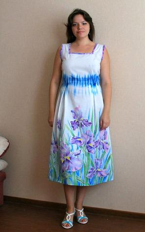Роспись юбки для платья из хлопка в технике холодного батика 9