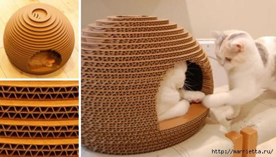 Кошкин домик из картона. Мастер-класс (37) (540x308, 126Kb)