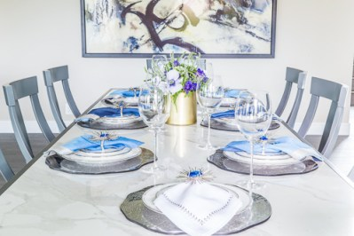 blue and silver place settings