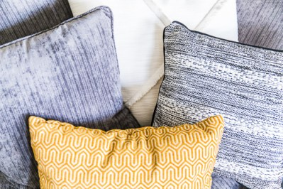 mixed textures couch pillows
