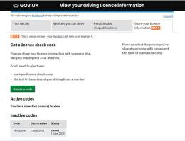 DVLA Check Code Page