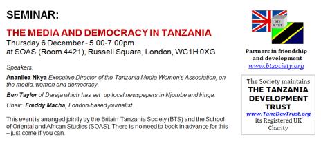 Public Seminar: The Media and Democracy in Tanzania