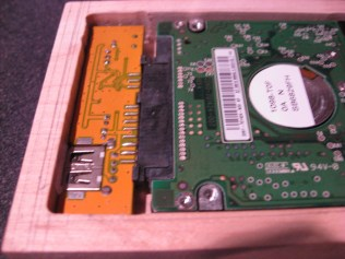 A quick test fit for the hard drive in the enclosure.