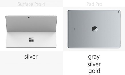 مقارنة بين اللوحين ايباد برو وسيرفيس برو - الخيارات اللونية