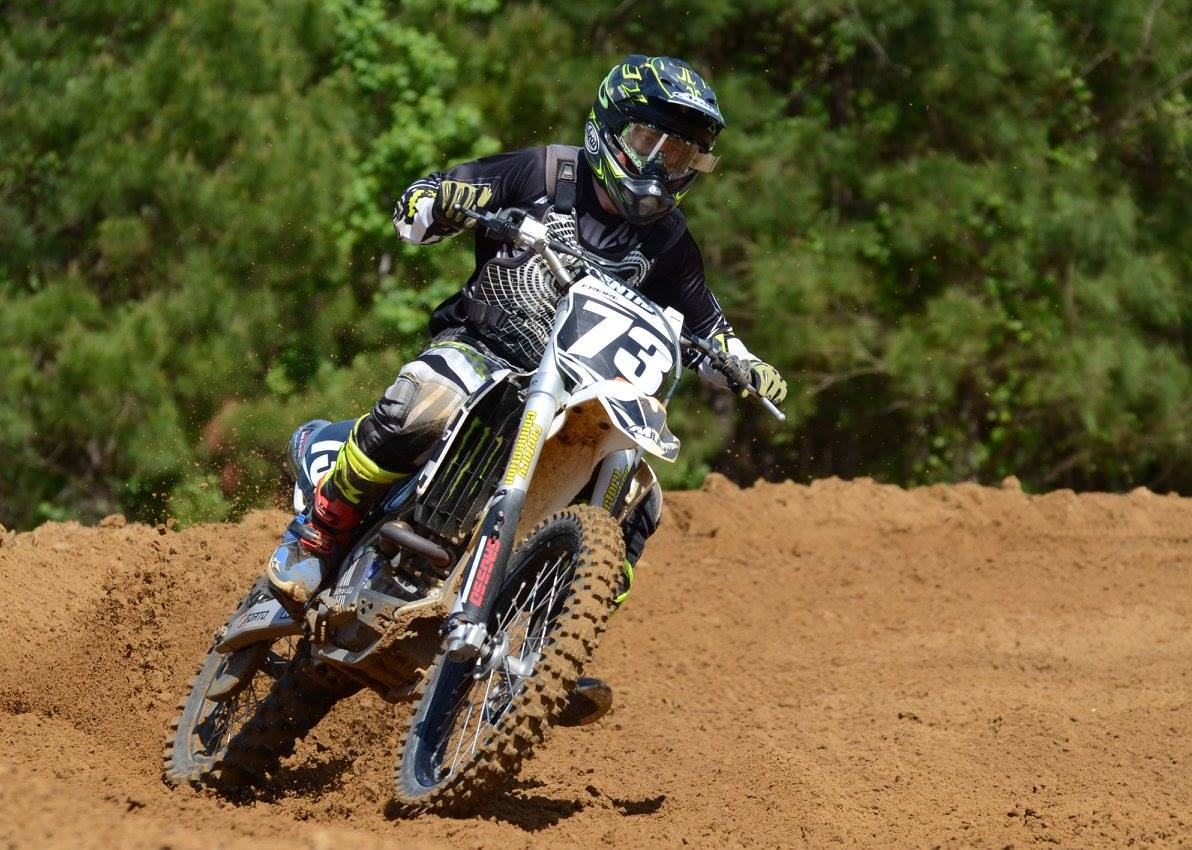 Rider races out of a turn on the supercross practice track