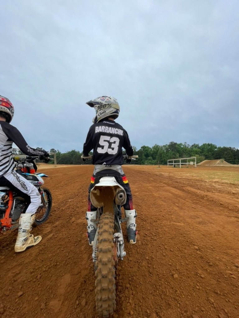 Agustín Barrenechelines up at start gate on the supercross track at Millsaps Training Facility