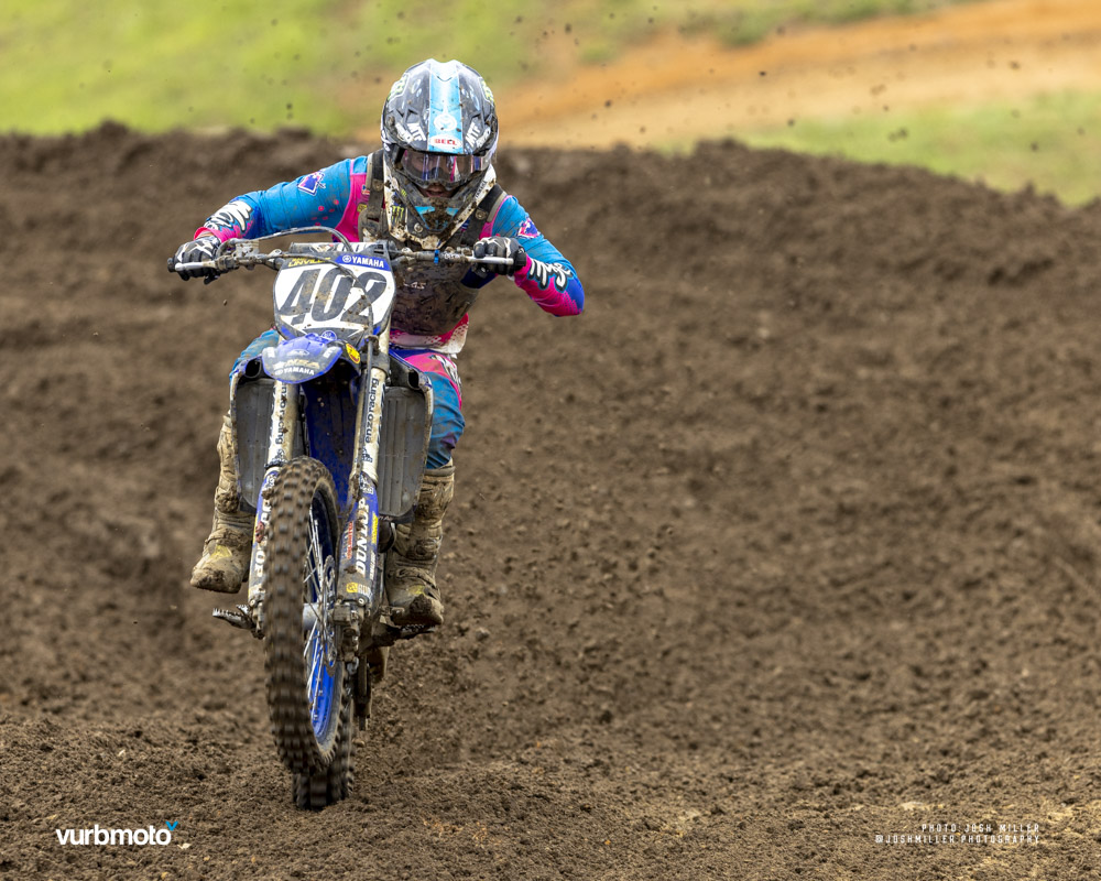 Gage Linville races through a straight section on the motocross track.