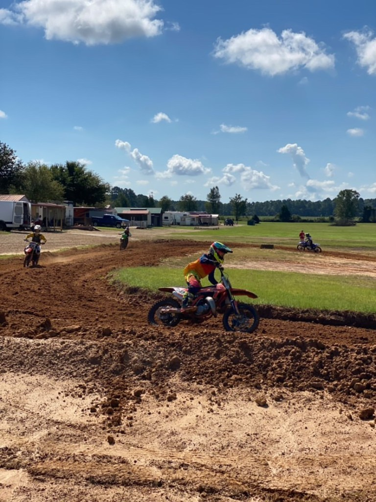 Mateo Barrientos speeds out of a corner on MTF's motocross track.