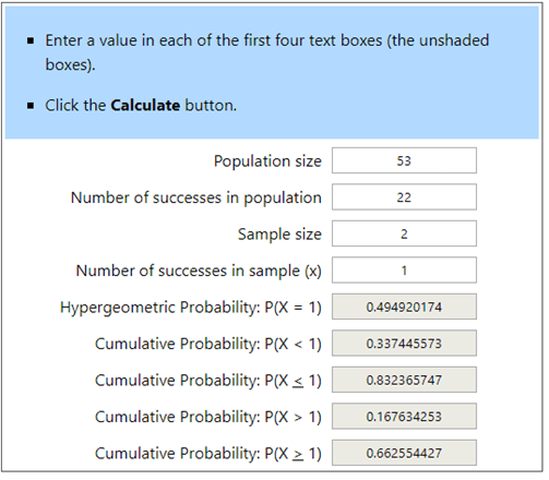 Hypergeometric Calculator Example 5