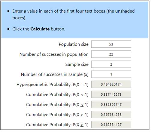 Hypergeometric Calculator Example 5