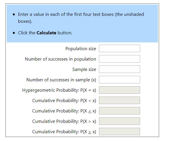 Hypergeometric Calculator 1