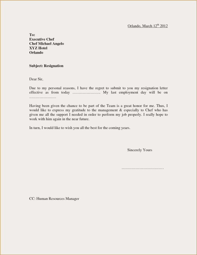 Domestic Worker Resignation Letter