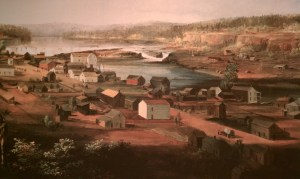 Painting of Oregon City by John Mix Stanley (circa 1852)