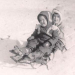 """My brother and me, about a year after the """"hat, coat, boots"""" winter"""