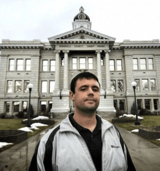 Cody Marble in front of the Missoula County Courthouse