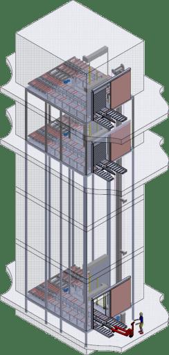 Monte-palette dans ancienne cage monte-charge