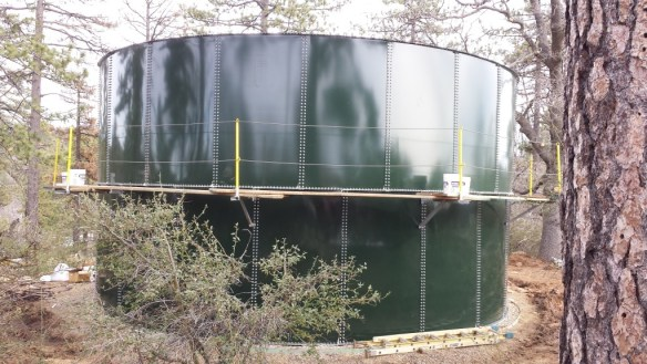 Two rows of panels installed on tank