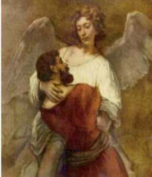 "Rembrandt, ""Jacob Wrestling with the Angel"""