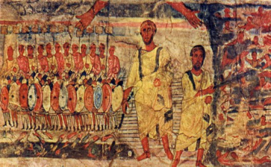 """Moses Crossing the Red Sea"", Dura Europas Synagogue, 245 C.E."