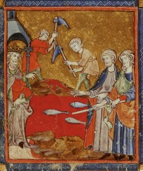 Plague of Blood, as depicted in 14th century CE