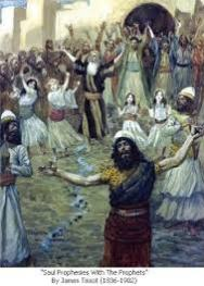 """Saul Prophesies with the Prophets"", by James Tissot"