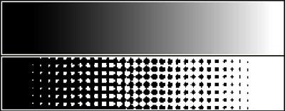 Umsetzung eines Halbtons in ein Schwarz/Weiß-Raster