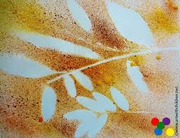 Spray painting with autumn colours