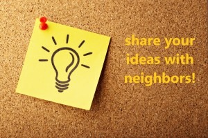 """share your ideas with your neighbors"" text with a lightbulb drawn on a sticky note"