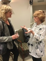 Abby White (left), development director for the College of Media and Entertainment, talks NPT with Beth Curley, president and CEO of Nashville Public Television.