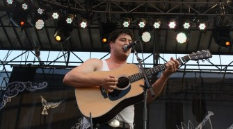 Marcus Mumford of Mumford and Sons performs at the 2011 Bonnaroo Music & Arts Festival in Manchester, Tennessee. (MTSU Sidelines / Emily West)