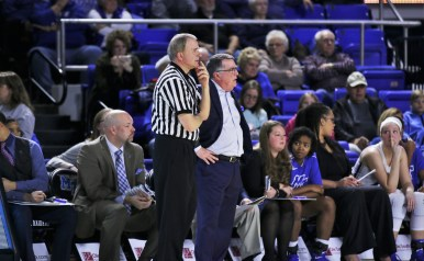 Head coach Rick Insell looks on as his team loses to Louisiana Tech by a final score of 66-49 on Feb. 1, 2018, in Murfreesboro, Tenn. (David Chamberlain / MTSU Sidelines)