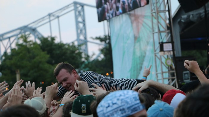 Brad Shultz of Cage the Elephant crowd surfs at the Forecastle Festival in Louisville, Ky., on Friday, July 17, 2015. (MTSU Sidelines / John Connor Coulston)