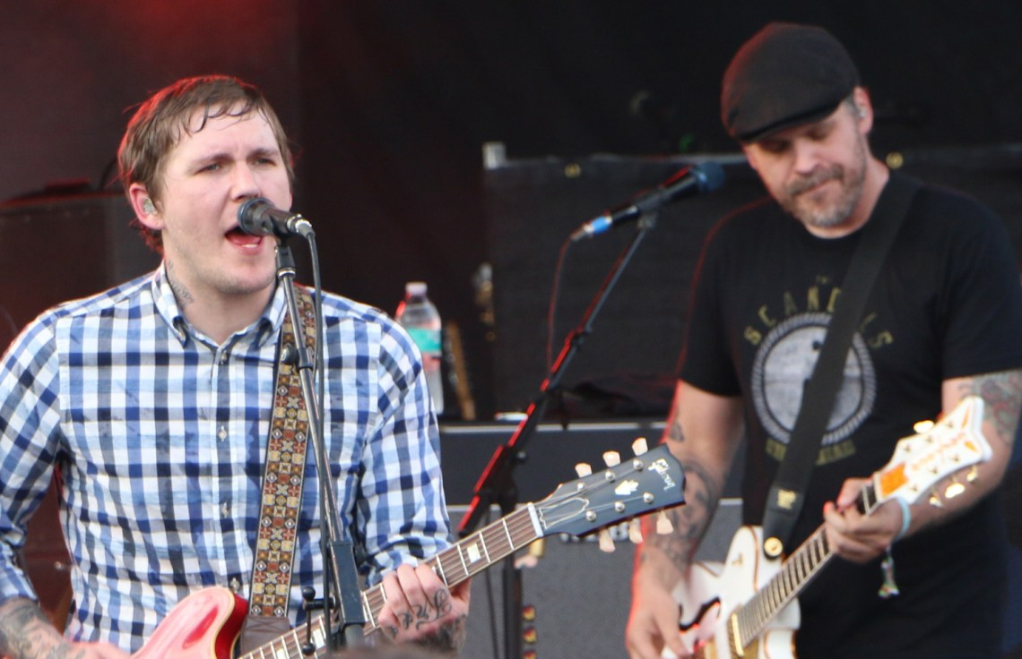 Brain Fallon, left, and Ian Perkins, right, of the Gaslight Anthem perform at the Forecastle Festival in Louisville, Ky., on Friday, July 17, 2015. (MTSU Sidelines / John Connor Coulston)