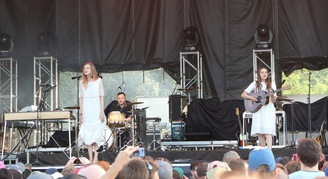 Johanna Söderberg, left, Scott Simpson, center, and Klara Söderberg, right, of First Aid Kit perform at the Sloss Music & Arts Festival in Birmingham, Ala., on Saturday, July 18, 2015. (MTSU Sidelines / John Connor Coulston)