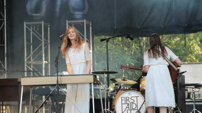 Johanna Söderberg, left, and Klara Söderberg, right, of First Aid Kit perform at the Sloss Music & Arts Festival in Birmingham, Ala., on Saturday, July 18, 2015. (MTSU Sidelines / John Connor Coulston)