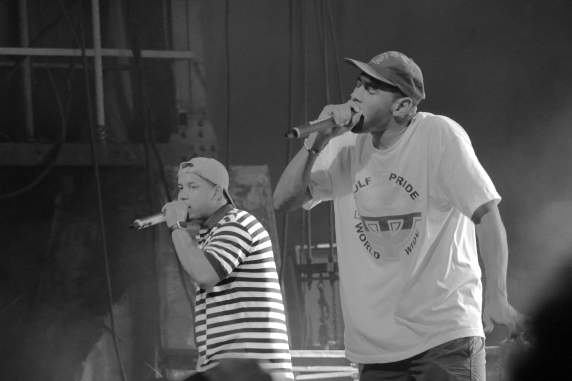 Jasper Dolphin, left, performs with Tyler, the Creator, right, at the Sloss Music & Arts Festival in Birmingham, Ala., on Sunday, July 19, 2015. (MTSU Sidelines / John Connor Coulston)