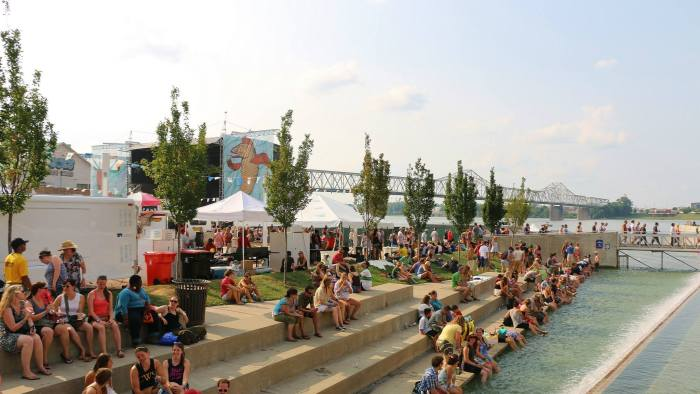 A shot of the festival grounds at the Forecastle Festival in Louisville, Kentucky on Sunday, July 20, 2015. (MTSU Sidelines / Dylan Skye Aycock)