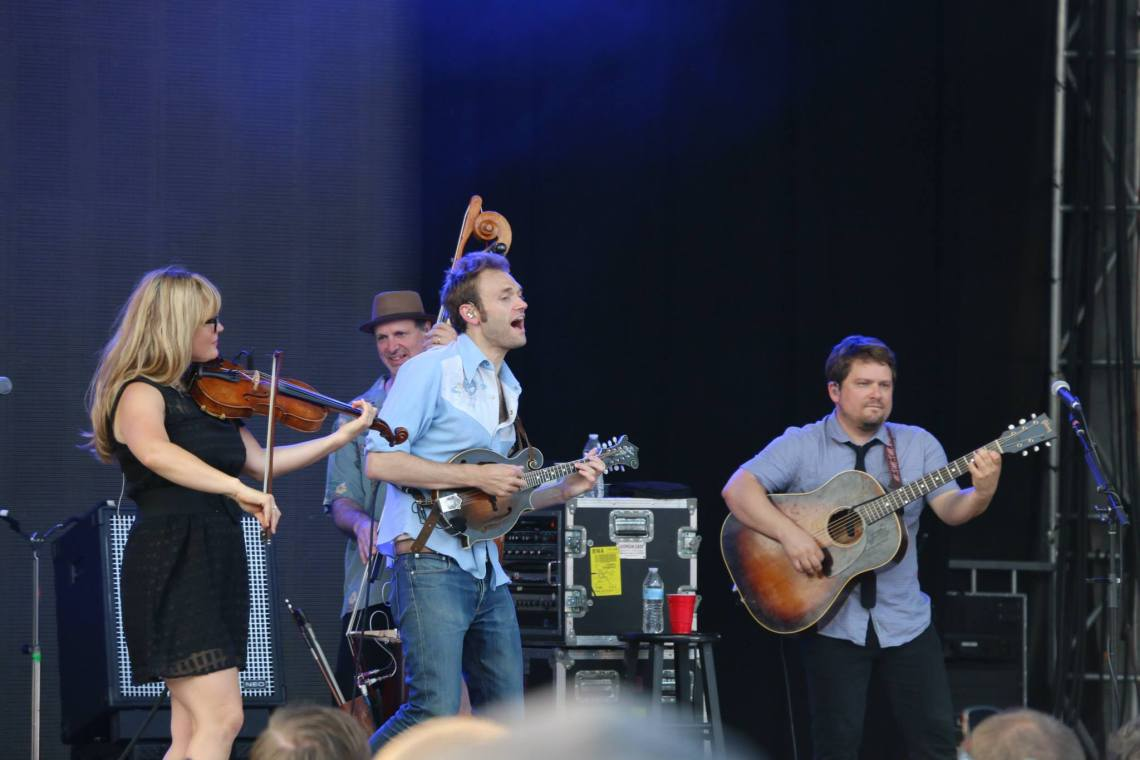 Sara Watkins, left, Chris Thile, center, and Sean Watkins, right, of Nickel Creek perform at the Forecastle Festival in Louisville, Kentucky on Sunday, July 20, 2015. (MTSU Sidelines / John Connor Coulston)